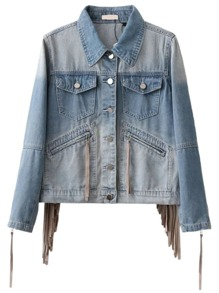 Blue Zipper Sleeve Fringe Detail Denim Jacket