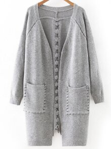 Light Grey Lace Up Detail Pocket Long Sweater Coat