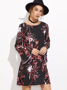 Black Botanical Print Bell Sleeve A Line Dress