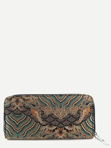 Coffee Tribal Embroidery Zipper Wallet