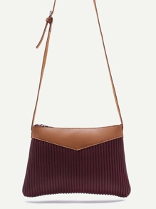 Burgundy Ribbed PU Zip Closure Crossbody Bag