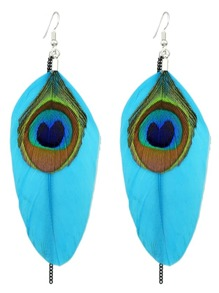 Blue Ethnic Style Peacock Chain Earrings