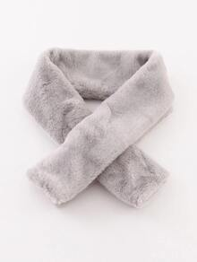 Grey Faux Fur Tippet Scarf