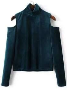 Blue Mock Neck Open Shoulder Velvet Blouse