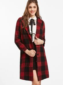 Red Single Breasted Plaid Long Coat