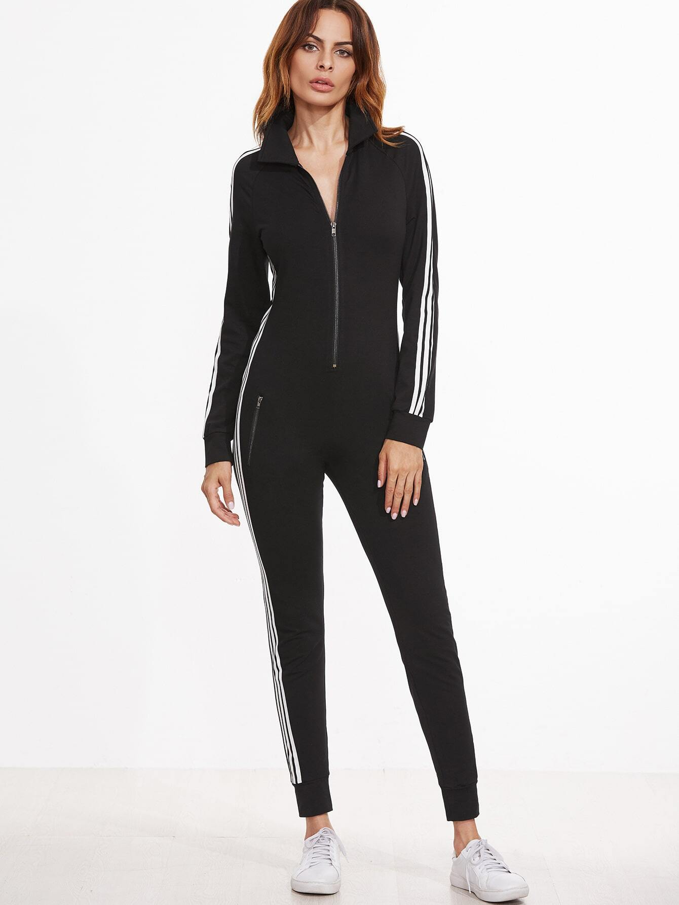Black Striped Sideseam Zip Up Skinny Sweat Jumpsuit pictures