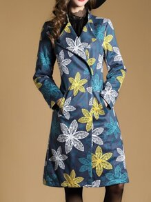 Multicolor Lapel Pockets Print Coat