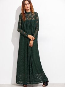 Dark Green Illusion Neck Floral Lace Dress