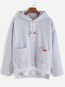 Grey Slit Side High Low Hooded Sweatshirt