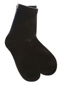 Black Vertical Stripe Crew Socks