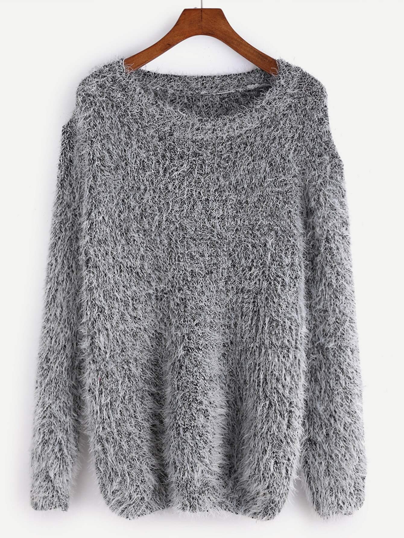 Grey Drop Shoulder Fuzzy Sweater EmmaCloth-Women Fast Fashion Online