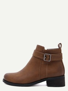 Brown Distressed Buckle Strap Ankle Booties