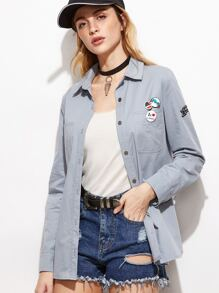 Blue Letter Print Shirt Jacket With Badge Detail