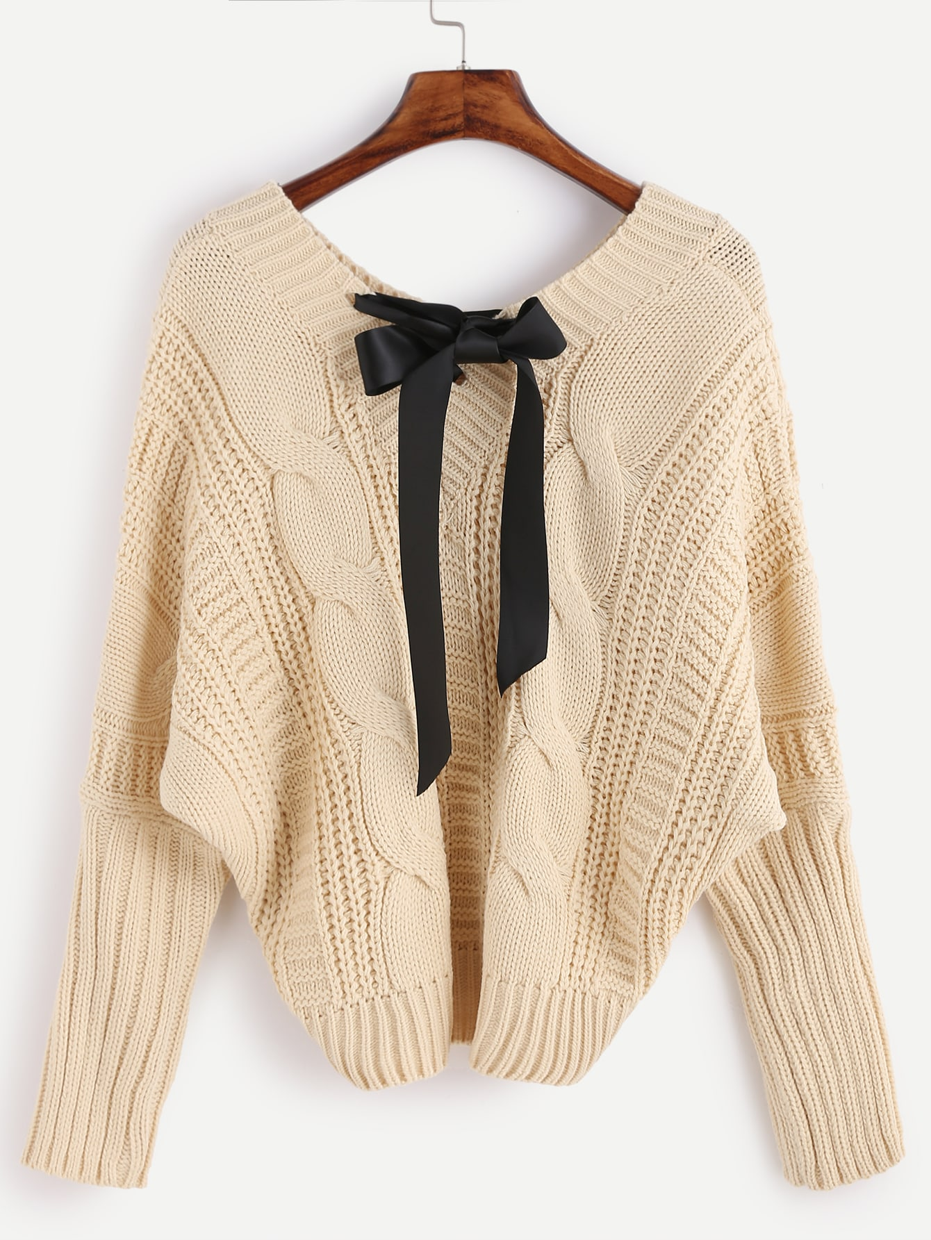V Neck Batwing Sleeve Bow Tie Cable Knit Sweater EmmaCloth ...