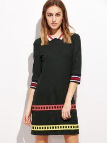 Black Striped Trim 3/4 Sleeve Ribbed Dress