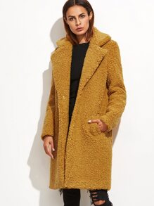 Mustard Notch Collar Hidden Button Fleece Coat