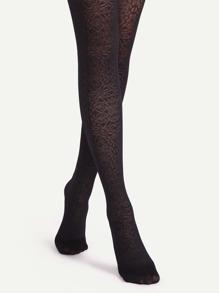 Black Vintage Totem Sheer Pantyhose Stockings