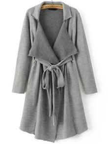Grey Shawl Collar Long Sweater Coat With Belt