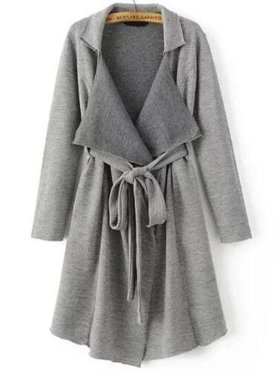 Grey Shawl Collar Long Sweater Coat With Belt EmmaCloth-Women Fast ...