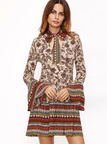Multicolor Floral Print Cutout Tie Neck Bell Sleeve Dress