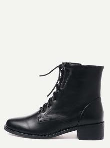 Black Faux Leather Square Toe Lace Up Short Boots