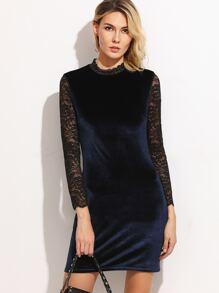 Navy Contrast Lace Sleeve Keyhole Back Velvet Dress