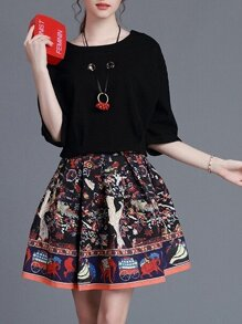 Black Sweater Top With Print Skirt