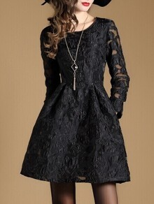 Black Sheer Jacquard Pockets A-Line Dress