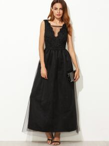 Black Mesh Overlay Scallop V Neck Embroidered Dress
