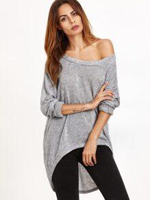 Grey One Shoulder Dip Hem T-shirt