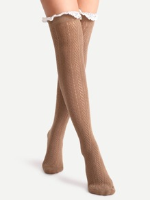 Coffee Lace Trim Textured Over The Knee Socks