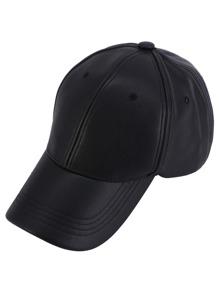 Black Faux Leather Hip Hop Baseball Cap
