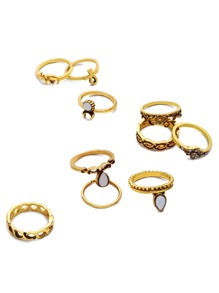 10PCS Antique Gold Geometric Carved Ring Set