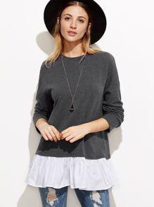 Grey Drop Shoulder Contrast Ruffle Trim Sweatshirt