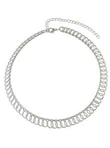 Silver Simple Model Gold Silver Color Wide Chain Necklace
