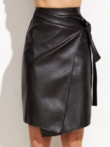 Black PU Warp Skirt With Knot Detail