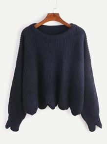 Navy Drop Shoulder Scallop Hem Sweater