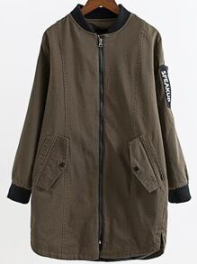 Army Green Letter Print Zipper Longline Jacket