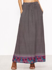 Purple Tribal Print Drawstring Waist Skirt
