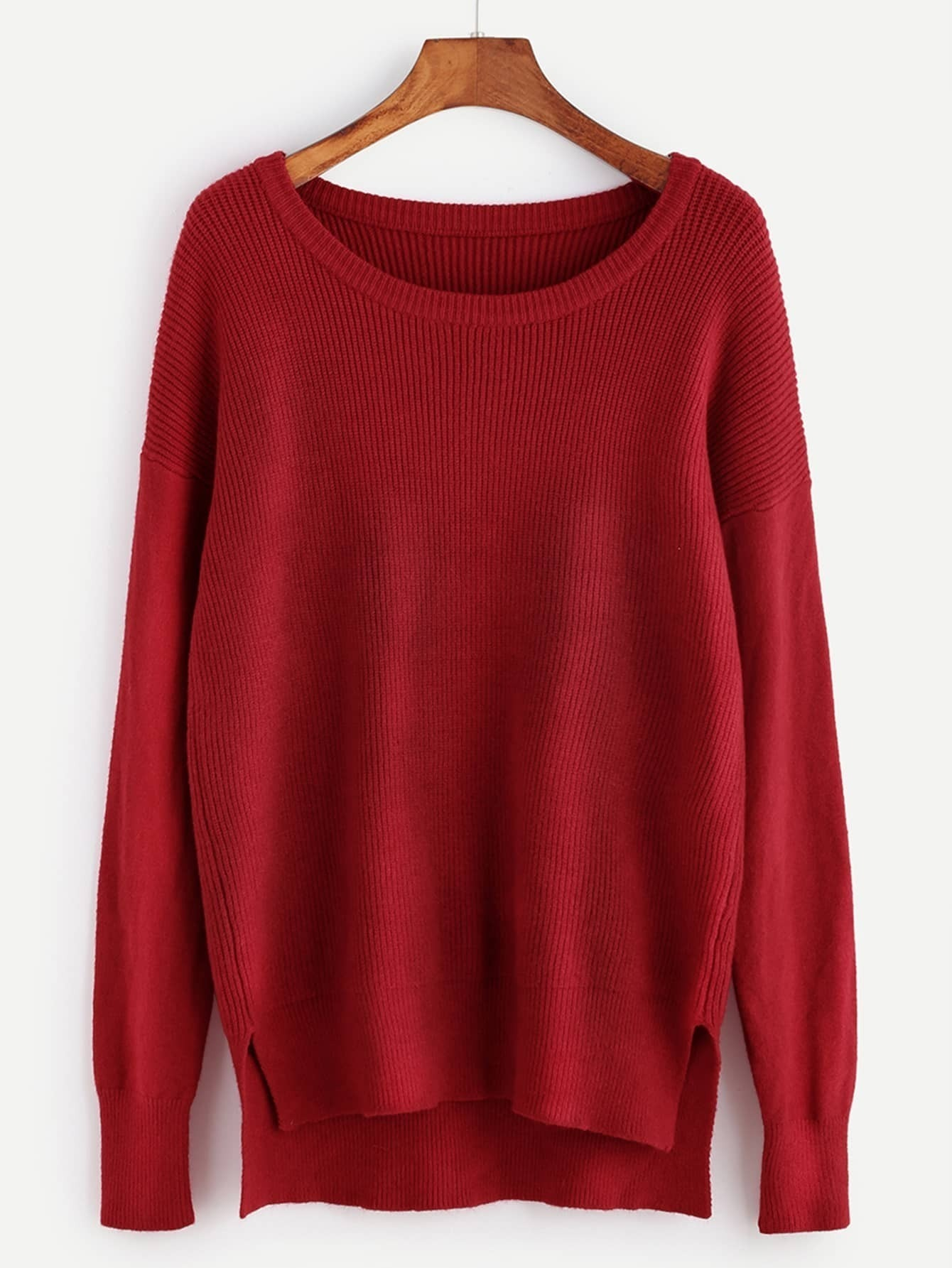 Red Ribbed Knit Slit High Low Sweater EmmaCloth-Women Fast Fashion ...
