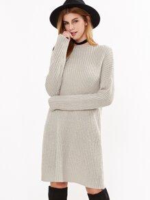 Apricot Ribbed Knit Lace Up Back Sweater Dress