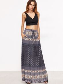 Navy Tribal Print Drawstring Waist Skirt