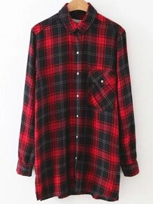 Red Plaid Dragon Embroidery Button Up Blouse