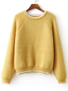 Yellow Contrast Trim Raglan Sleeve Mohair Sweater