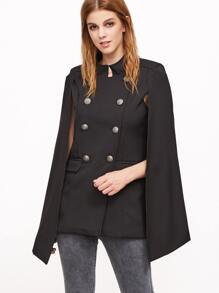Black Double Breasted Cape Blazer With Pockets