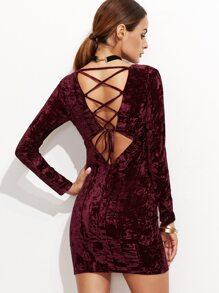Burgundy Lace Up Back Velvet Bodycon Dress