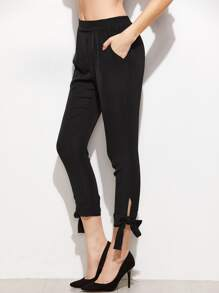 Black Bow Tie Hem Crop Skinny Pants