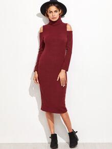Burgundy Turtleneck Cut Out Shoulder Sweater Dress