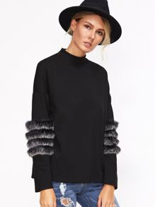 Black Drop Shoulder Striped Fur Trim T-shirt