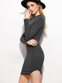 Heather Grey Ribbed Knit Curved Hem Bodycon Dress